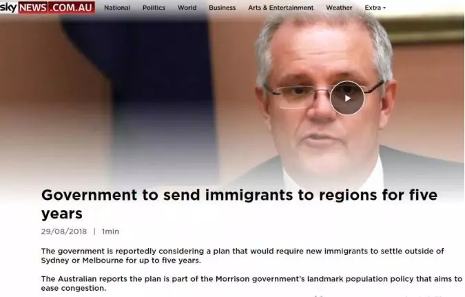 新移民至少五年之内不得定居悉尼或墨尔本
