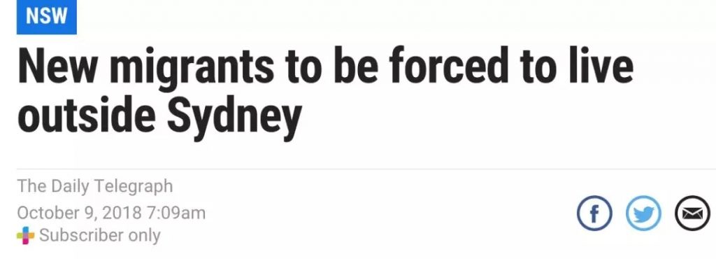 《新移民将被强制定居在悉尼以外的地区》